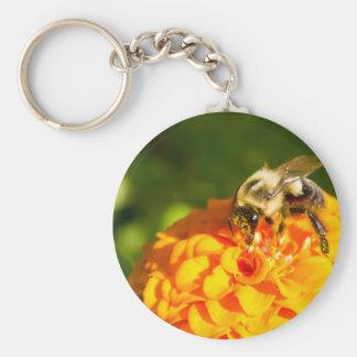 Honey Bee  Orange Yellow Flower With Pollen Sacs Keychain