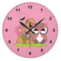 Honey Bee Owl Large Clock