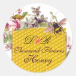 HONEY BEE,PINK CYCLAMEN FLOWERS BEEKEEPER MONOGRAM CLASSIC ROUND STICKER