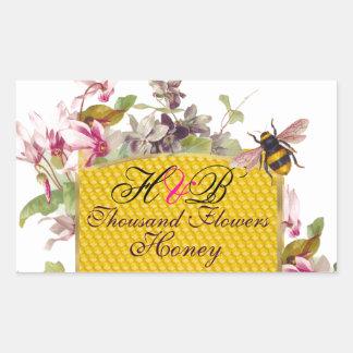 HONEY BEE,PINK CYCLAMEN FLOWERS BEEKEEPER MONOGRAM RECTANGULAR STICKER