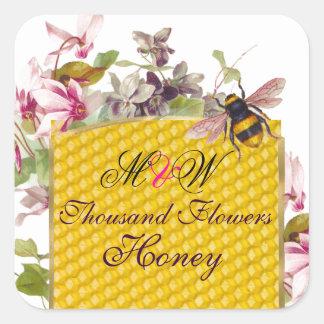 HONEY BEE,PINK CYCLAMEN FLOWERS BEEKEEPER MONOGRAM SQUARE STICKER