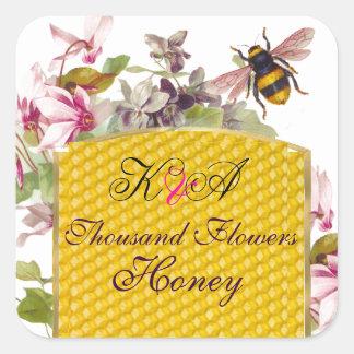 HONEY BEE PINK CYCLAMEN FLOWERS BEEKEEPER MONOGRAM SQUARE STICKERS