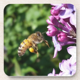 Honey Bee Polinating Purple Lilacs Beverage Coaster