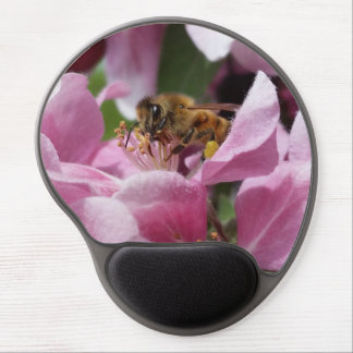 Honey Bee Pollinating Pink Crabapple Tree Blossom Gel Mouse Pad