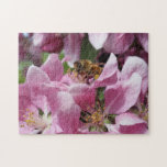 "Honey Bee Pollinating Pink Crabapple Tree Blossom Jigsaw Puzzle<br><div class=""desc"">Could be a tough puzzle. Spring time scene with the hardest and working creatures in the insect world</div>"