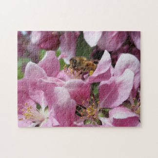 Honey Bee Pollinating Pink Crabapple Tree Blossom Jigsaw Puzzle