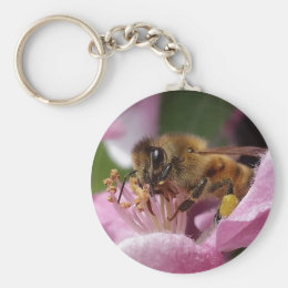 Honey Bee Pollinating Pink Crabapple Tree Blossom Keychain
