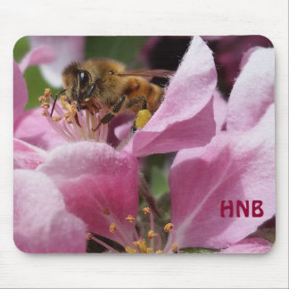 Honey Bee Pollinating Pink Crabapple Tree Blossom Mouse Pad