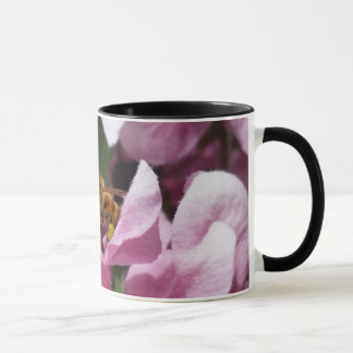Honey Bee Pollinating Pink Crabapple Tree Blossom Mug