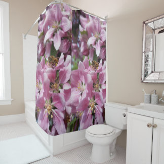 Honey Bee Pollinating Pink Crabapple Tree Blossom Shower Curtain
