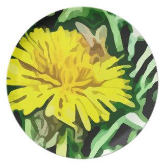 honey bee pollinating yellow flower painting melamine plate