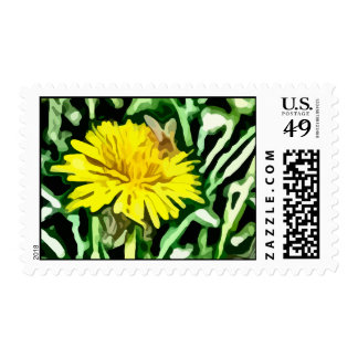 honey bee pollinating yellow flower painting postage stamp