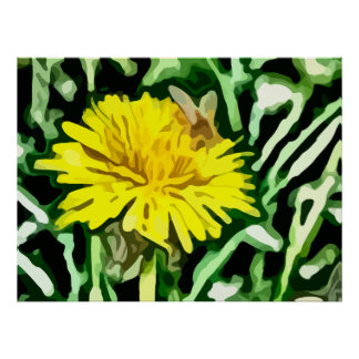 honey bee pollinating yellow flower painting posters