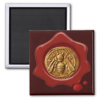 HONEY BEE RED WAX SEAL 2 INCH SQUARE MAGNET