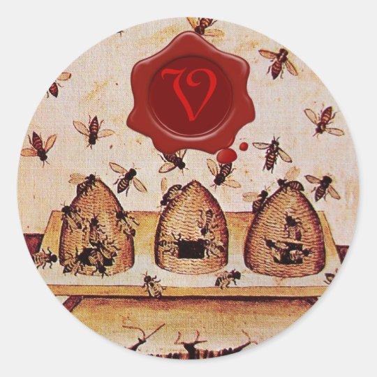 HONEY BEE, RED WAX SEAL MONOGRAM