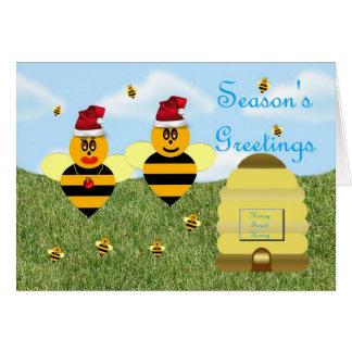 Honey bee season's greetings honey bee apiary buzz card