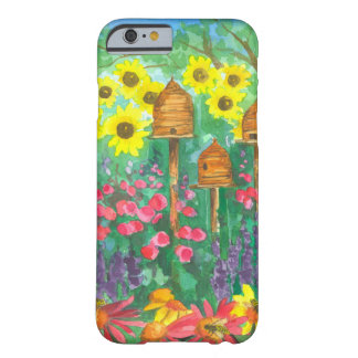 Honey Bee Skep Pink Coneflowers Watercolor Garden Barely There iPhone 6 Case