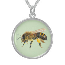 Honey Bee Watercolor Painting Wildlife Artwork Sterling Silver Necklace