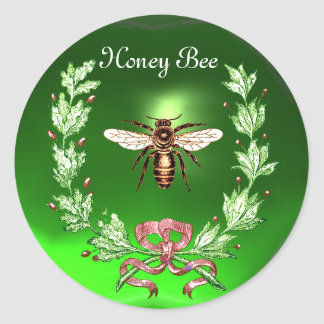 HONEY BEE ,WREATH WITH OAK LEAVES  AND RED RIBBON ROUND STICKER
