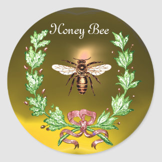 HONEY BEE ,WREATH WITH OAK LEAVES  AND RED RIBBON STICKERS