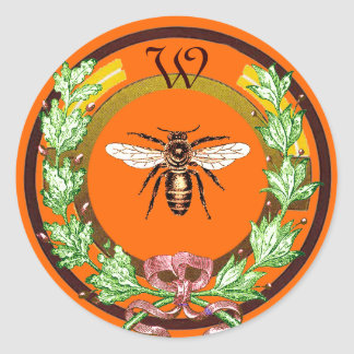 HONEY BEE ,WREATH WITH OAK LEAVES  MONOGRAM ROUND STICKER