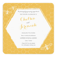 Honey Bee Yellow Custom Wedding Invitation