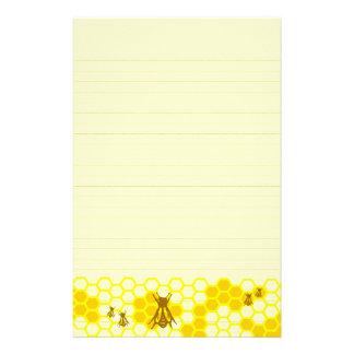 Honey Bee Yellow Honeycomb Lined Stationery