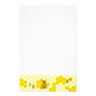 Honey Bee Yellow Honeycomb Unlined Stationery