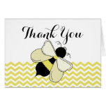 Honey Bee Yellow Zigzag Thank You Stationery Note Card