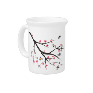 Honey Bees and Cherry Blossoms Pitcher