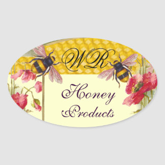 HONEY BEES AND RED POPPIES BEEKEEPER MONOGRAM OVAL STICKER