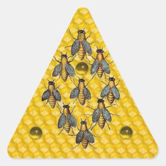 HONEY BEES,BEEKEEPER BEEKEEPING GEMSTONES TRIANGLE TRIANGLE STICKER