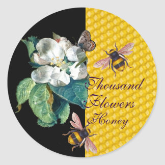 HONEY BEES, BUTTERFLY AND WHITE FLOWER CLASSIC ROUND STICKER