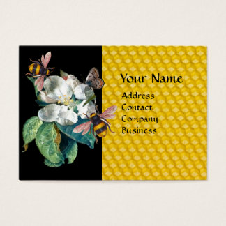 HONEY BEES, BUTTERFLY AND WHITE ROSE MONOGRAM BUSINESS CARD