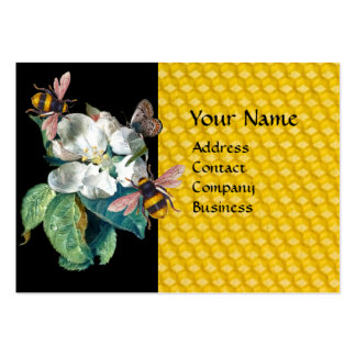 HONEY BEES, BUTTERFLY AND WHITE ROSE MONOGRAM LARGE BUSINESS CARD
