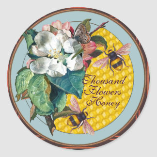 HONEY BEES,BUTTERFLY,WHITE FLOWER AND WILD ROSES CLASSIC ROUND STICKER