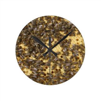 Honey Bees everywhere Round Clock