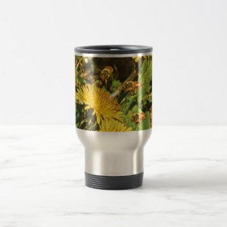 Honey Bees Flying Around Dandelions Travel Mug