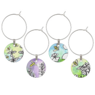 Honey Bees Herb Flowers Watercolor Art Wine Glass Charm