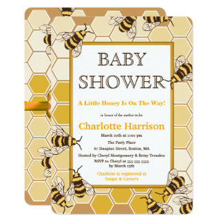 Honey Bees & Honey Comb Neutral Baby Shower Card