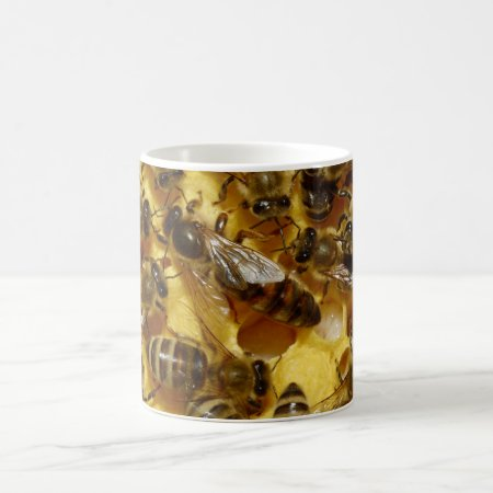 Honey Bees in Hive with Queen in Middle Coffee Mug