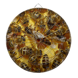 Honey Bees in Hive with Queen in Middle Dartboard With Darts
