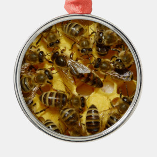 Honey Bees in Hive with Queen in Middle Christmas Ornament