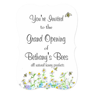 "Honey Bees Invitation Chamomile Flower Garden Art 5"" X 7"" Invitation Card"