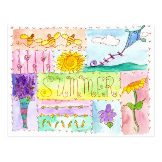 Honey Bees Kite Watercolor Flowers Happy Summer Postcard