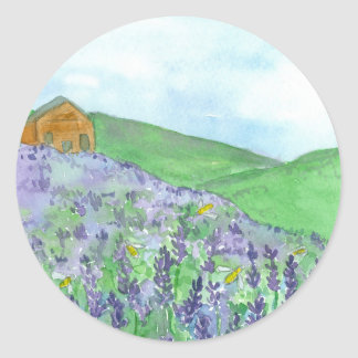 Honey Bees Lavender Field Mountain Meadow Classic Round Sticker