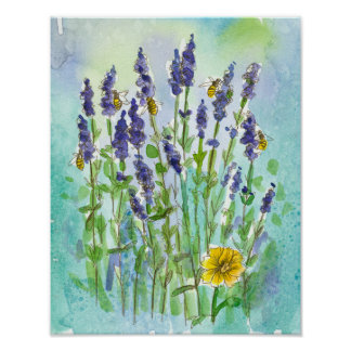 Honey Bees Lavender Herb Watercolor Flowers Poster