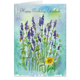 Honey Bees Lavender Personalized Happy Birthday Card