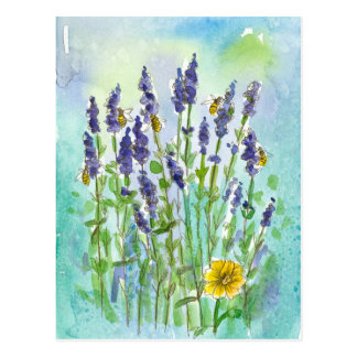 Honey Bees Lavender Watercolor Flowers Postcard