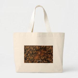 Honey Bees make dark background DIY add text photo Large Tote Bag